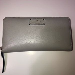 Kate space grey leather zipper wallet